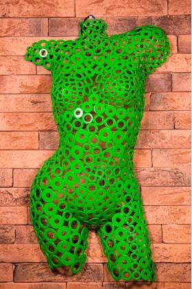Манекен женский арт - деко из металлических шайб Georgia 01603 зеленый